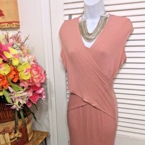 Venus Pink draped bodycon pink dress size Large